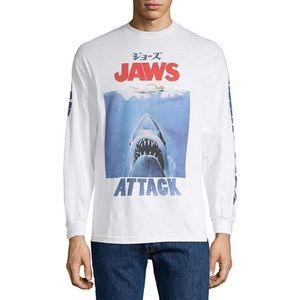 Jaws White Long Sleeve Graphic Shirt Medium NWT